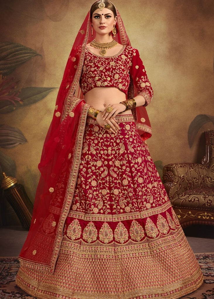 Red Pure Velvet Bridal Lehenga Choli with Heavy Embroidered work