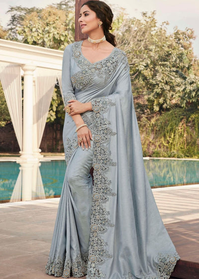 Fog Grey Designer Satin Georgette Saree with Embroidery work