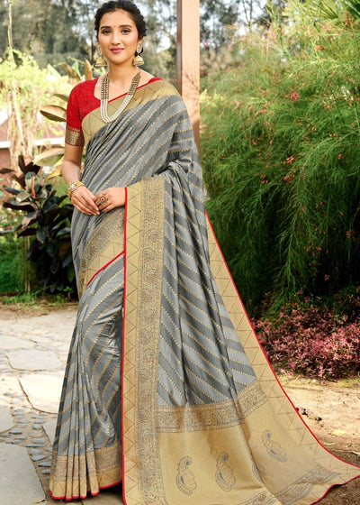 Steel Grey Zari Woven Banarasi Silk Saree