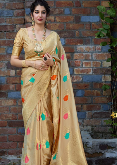 Golden Digital Print Silk Saree with Zari work Border and Pallu
