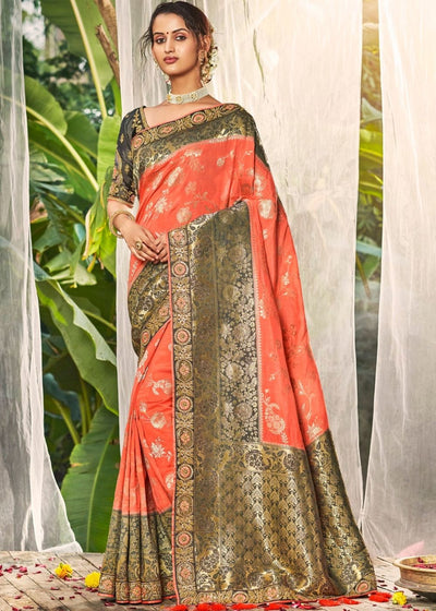 CoralPink and Grey Banarasi Dola Silk Saree with Resham Embroidery, Zari and Sequence work