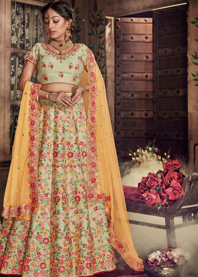Pista Green Pure Raw Silk Floral Embroidery Lehenga