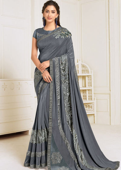 Smokey Grey Designer Lycra Saree with Sequins,Zari work & Handwork Butta
