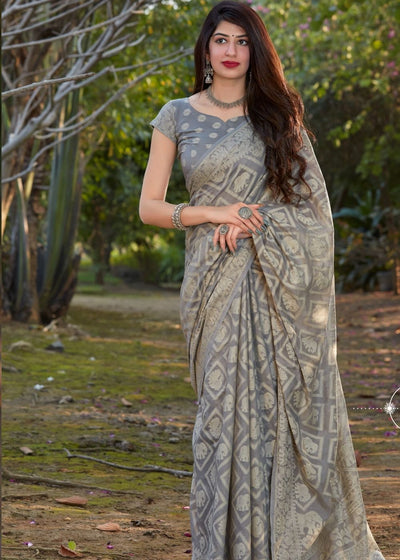 Seal Grey Lucknowi Chikankari Weaving Cotton Silk Saree