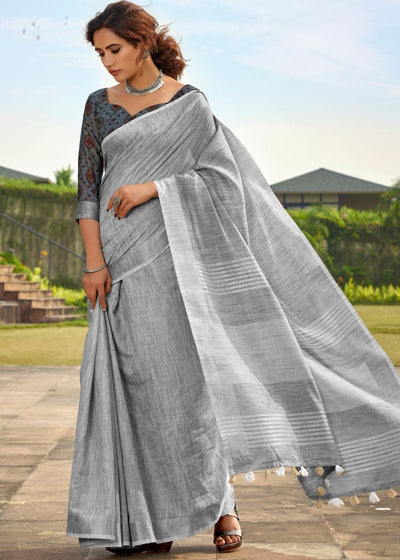 Smoke Grey Soft Linen Silk Saree with Khadi Print and Tassels on Pallu