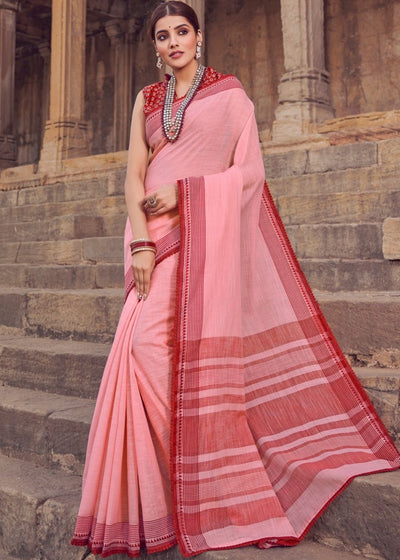 Lemonade Pink Cotton Linen Saree with Brocade Blouse