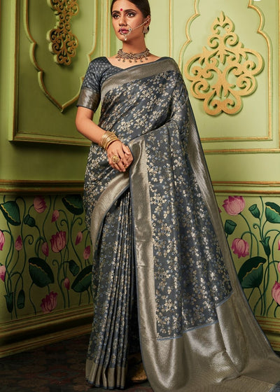 Anchor Grey Zari Woven Banarasi Silk Saree