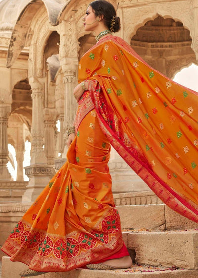 Tangerine Orange Zari Woven Banarasi Silk Saree with Designer Embroidered Blouse