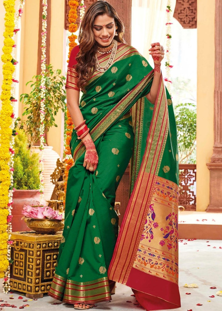 Forest Green Woven Paithani Silk Saree