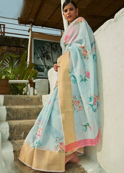 Coral Blue Floral Print Cotton-Linen Saree