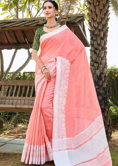 Peach Pink Soft Cotton Linen Saree