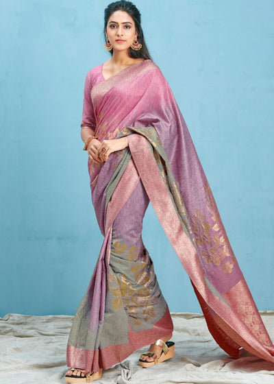 Rouge Pink Woven Soft Silk Saree