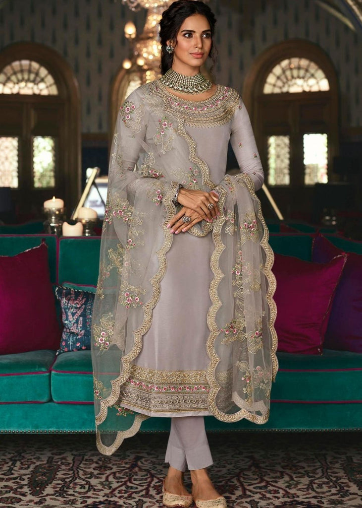 Silver Grey Pure Tusser Silk Suit with Embroidery and Swarovski work