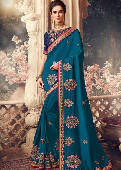 Peacock Blue Designer Silk Saree with Resham Embroidery
