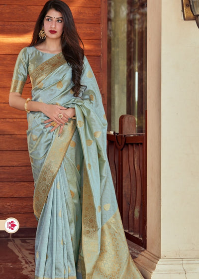 Cloudy Grey Super Soft Banarasi Silk Saree