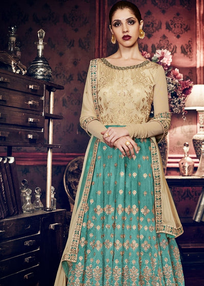 Green and Beige Handloom Silk Designer Anarkali Suit with Zari work
