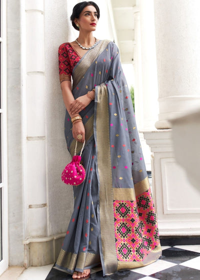 Smoke Grey Woven Chanderi Patola Fusion Silk Saree with Zari Border