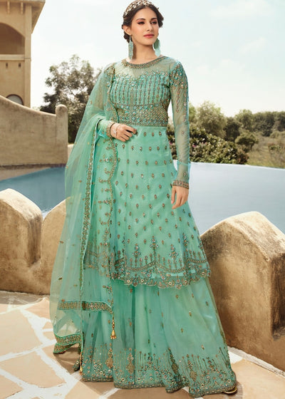 Frozen Blue Heavy Embroidered Net Sharara