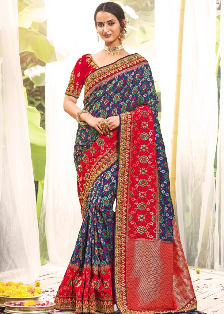 Azure Blue Banarasi Dola Silk Saree with Resham Embroidery, Zari and Moti work