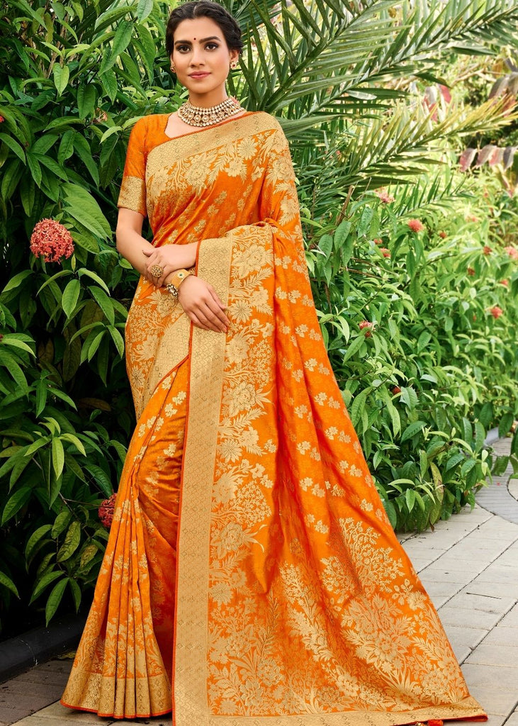 Tangerine Orange Zari Woven Banarasi Silk Saree