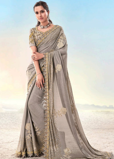 Chiku Georgette Saree with Zarkan and Crystal work