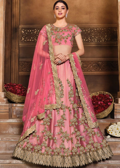 Carmine Pink Satin Silk & Net Lehenga Choli with Sequins, Resham & Swarvoski work
