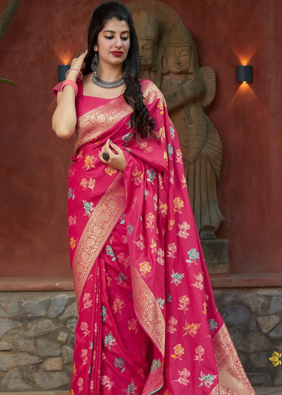Magenta Floral Print Silk Saree with Zari Border