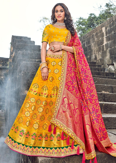 Yellow Banarasi Silk Lehenga With Pink Dupatta