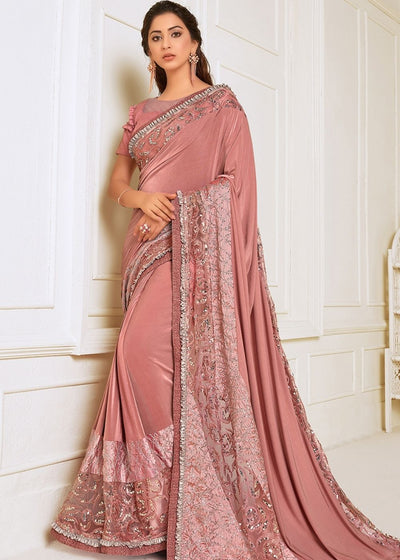 Rose Pink Designer Lycra Saree with Sequins, Resham & Zari Embroidery