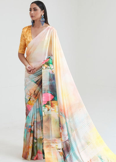 Flax Yellow Satin Silk Digital Printed Saree
