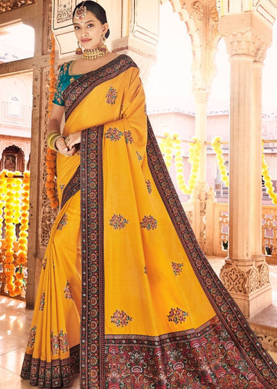 Mustard Dola Silk Saree having Kashmiri Brocade Pallu