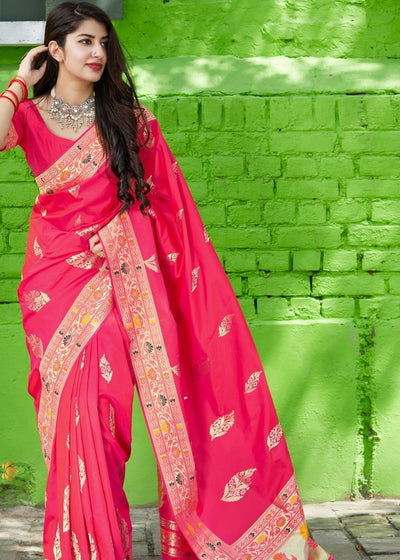 Hot Pink Designer Silk Saree with Zari Border and Buti Design