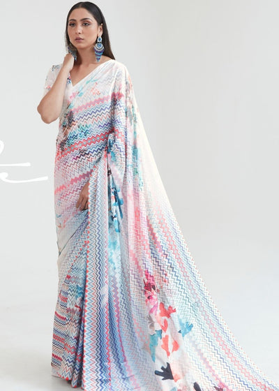 Daisy White & Blue Satin Silk Digital Printed Saree
