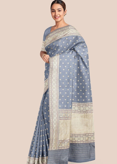 Steel Grey Katan Pure Silk Hand Woven Saree