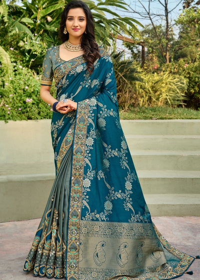 Blue and Grey Half N Half Silk Saree with Embroidered work