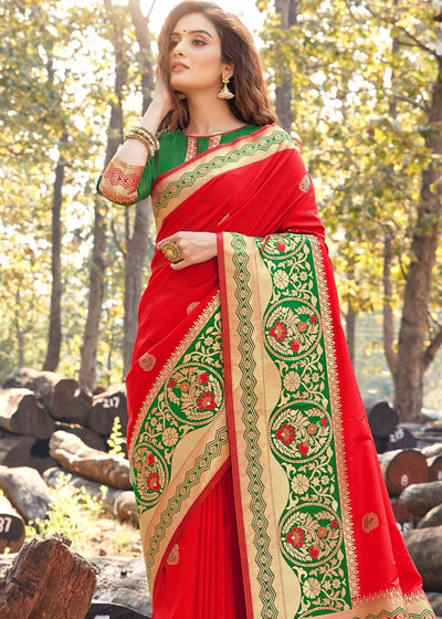 Scarlet Red Pure Soft Silk Woven Saree with Floral Zari Border and Pallu