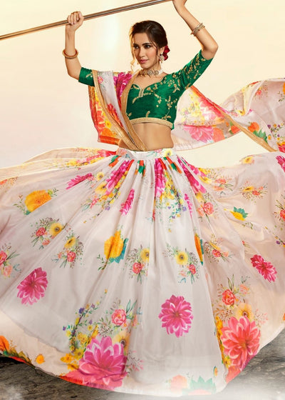 Off-White Pure Organza Designer Printed Floral Lehenga Choli with Sequins and Zari work