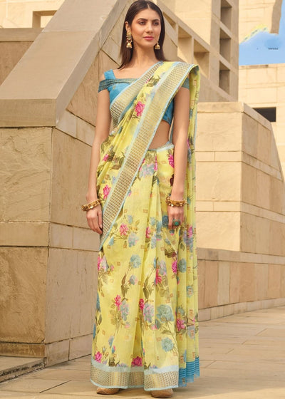 Daffodil Yellow Floral Print Linen Saree