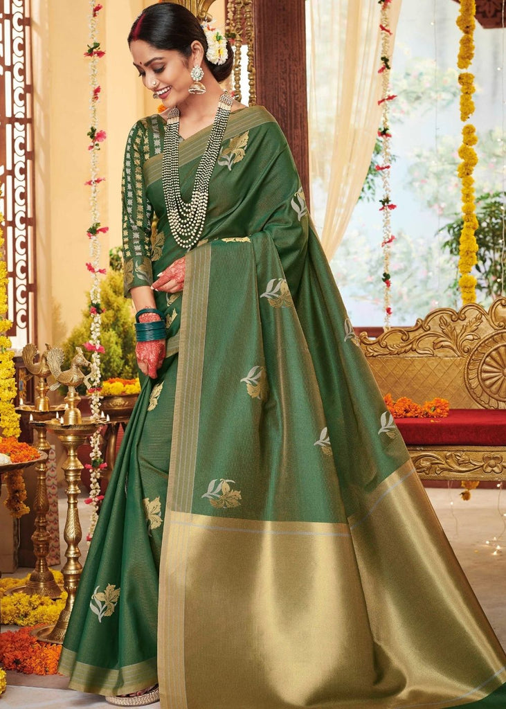 Fern Green Zari Butta Woven Soft Silk Saree