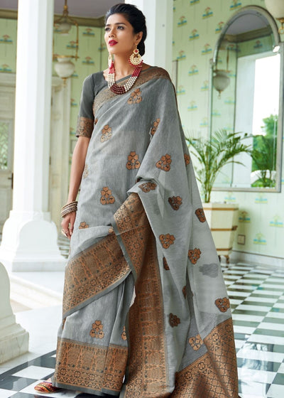 Smoke Grey Woven Linen Silk Saree with Butti overall