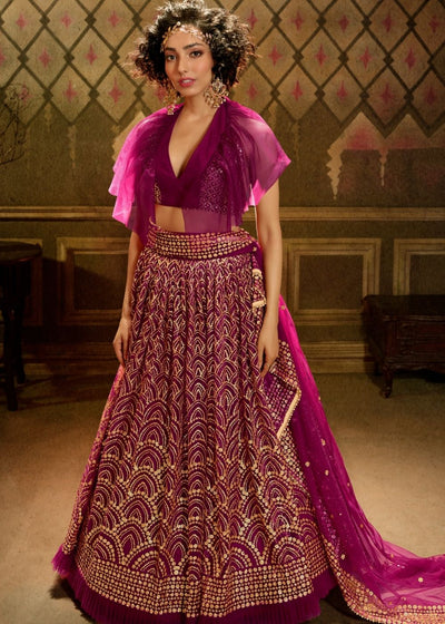 Red Violet Soft Net Designer Lehenga Choli with overall Sequins work