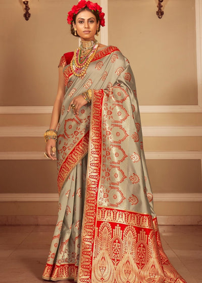 Grey & Red Zari Woven Banarasi Silk Saree