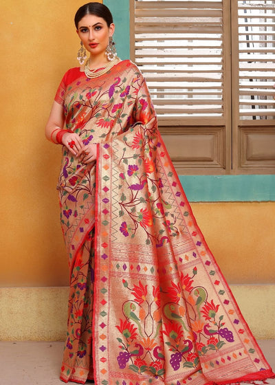 Cherry Red and Golden Blend Pure Paithani Silk Saree
