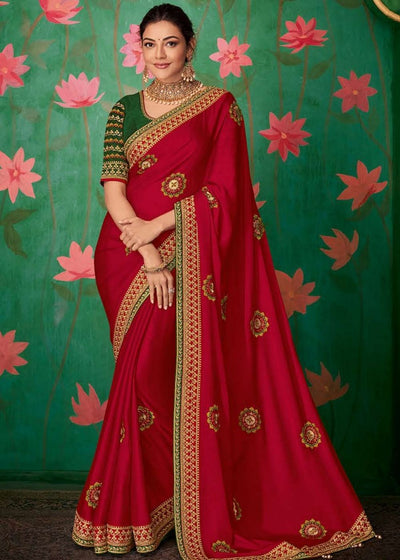 Cherry Red Designer Silk Saree with Contrast Embroidered Blouse