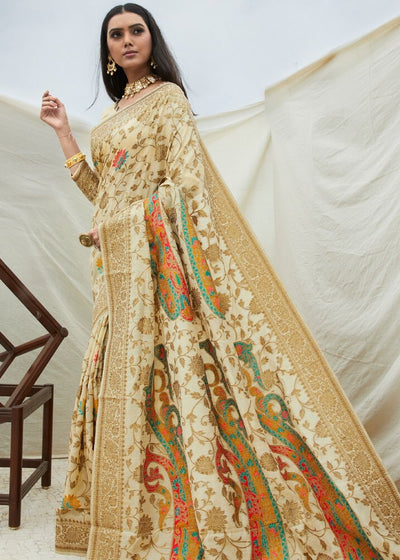 Cream Handloom Weaving Silk Saree