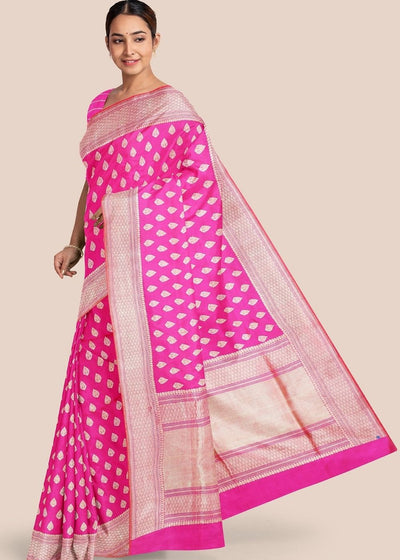 Hot Pink Katan Pure Silk Hand Woven Saree