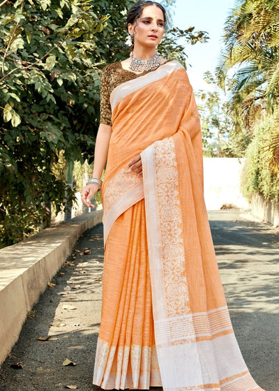 Peach Orange Soft Cotton Linen Saree