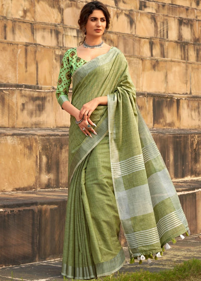 Lime Green Soft Linen Silk Saree with Khadi Print and Tassels on Pallu