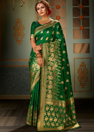 Dark Green and Golden Banarasi Silk Saree