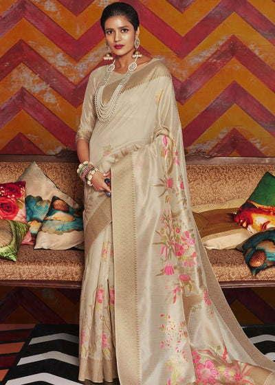 White Woven Chanderi Banarasi Fusion Silk Saree